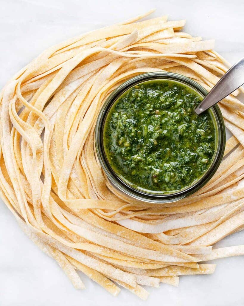 Fresh Pasta with Basil Pesto