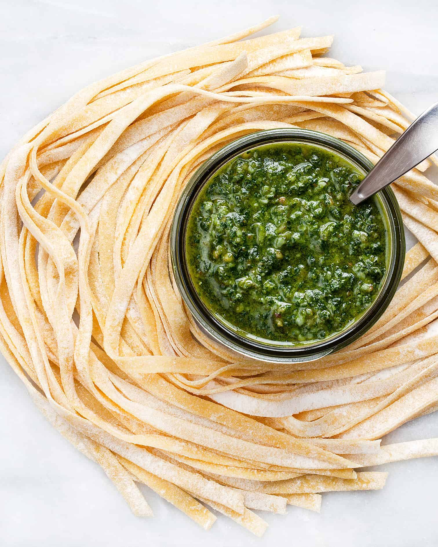 Fresh Pasta with Basil Pesto