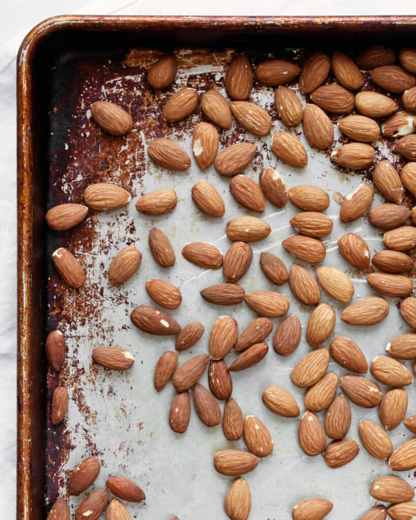 Toasting almonds on a sheet pan