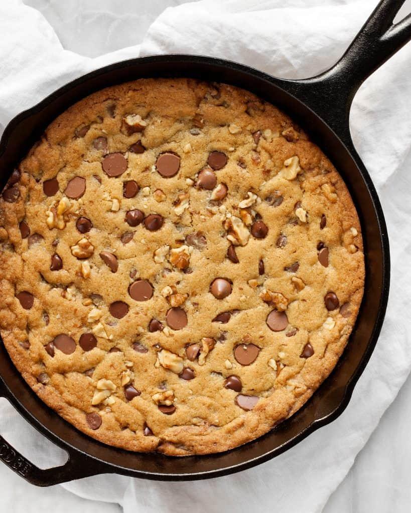 Chocolate Chip Walnut Skillet Cookie