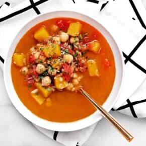 Spicy Red Lentil Chickpea Soup