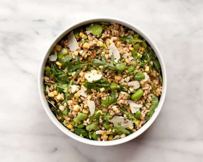 Farro Salad with Fava Beans and Corn