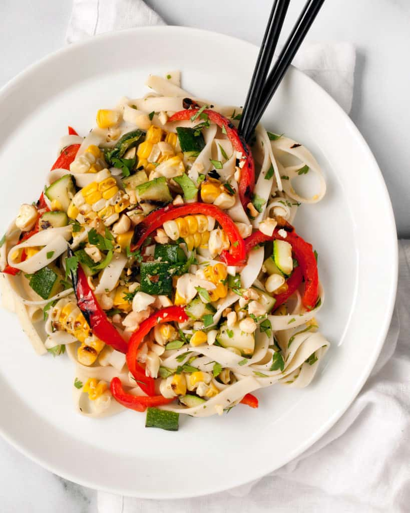 Peanut Udon Noodles with Grilled Vegetables