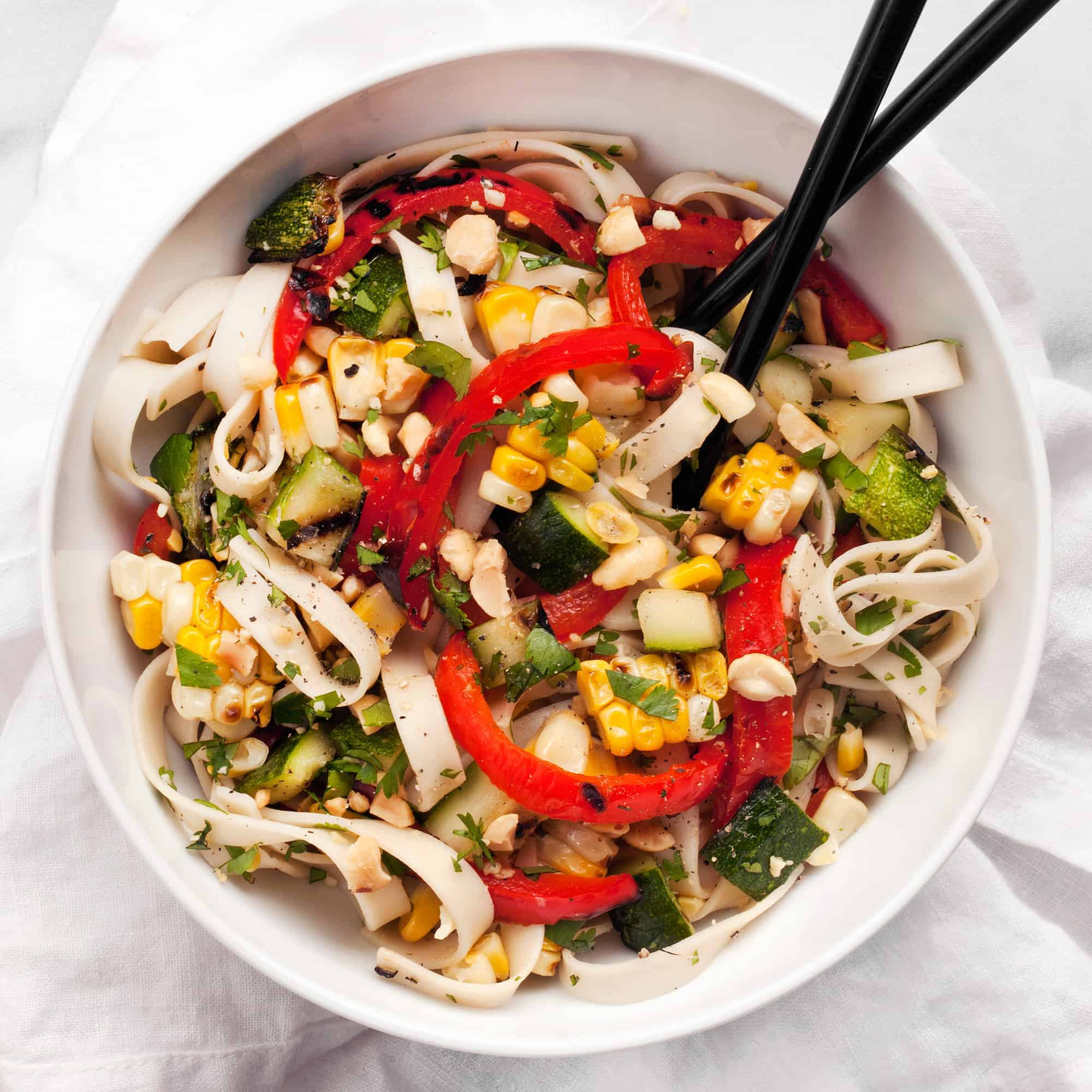 Peanut Udon Noodles with Grilled Vegetables