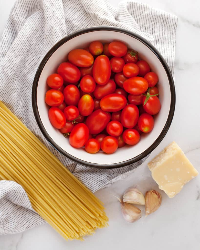 Recipe ingredients including dried pasta