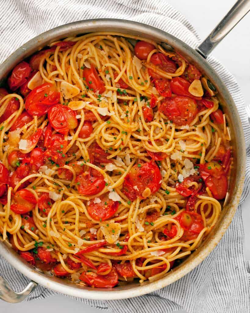 Burst Tomato Pasta in a Skillet