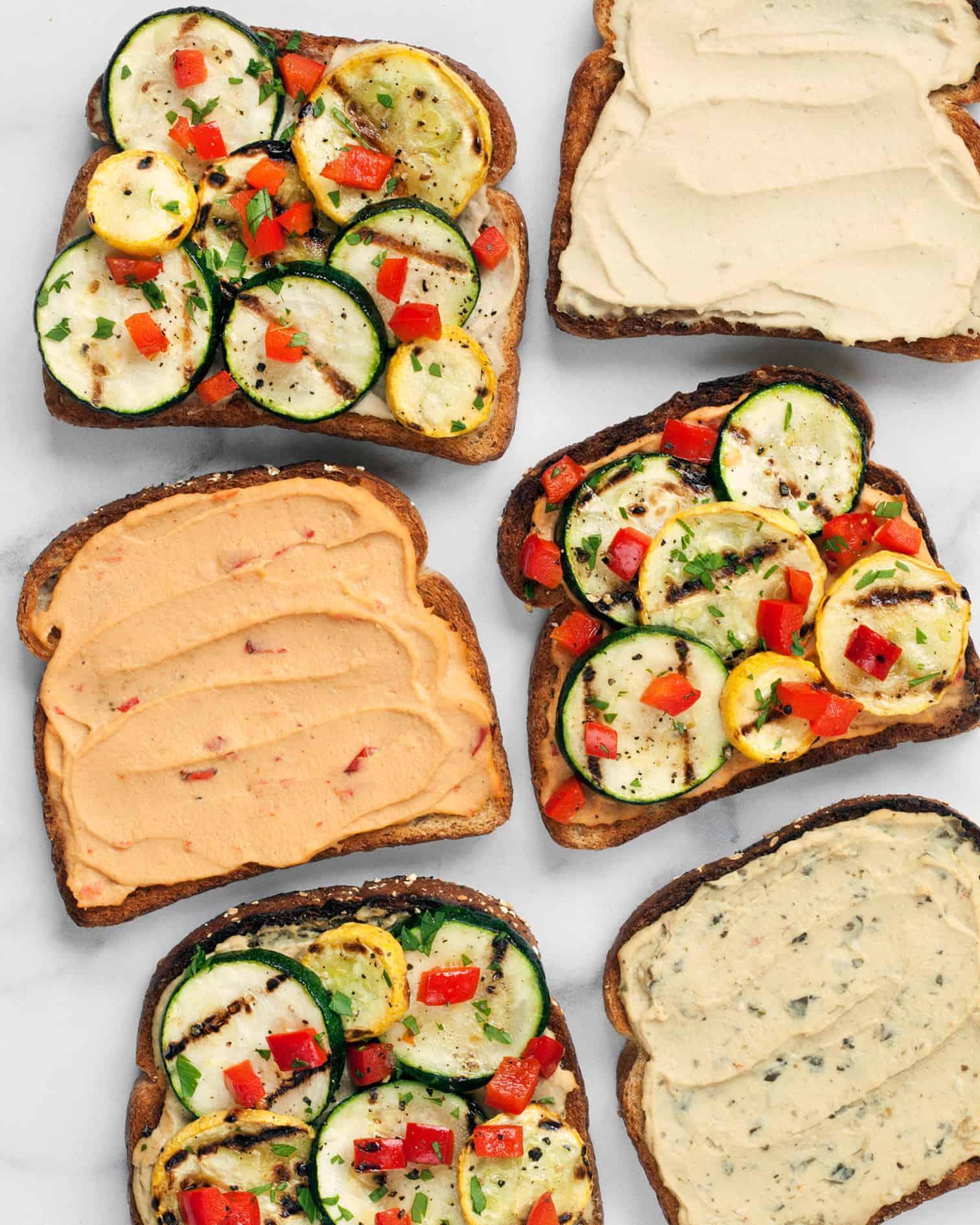 Spicy Grilled Veggie Hummus Sandwich