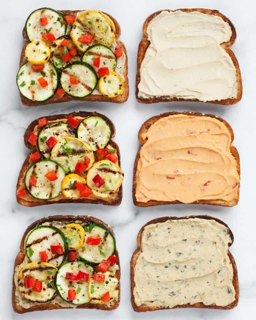 Spicy Grilled Veggie Hummus Sandwiches