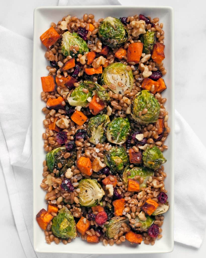 Wheat Berry Salad with Brussels Sprouts & Sweet Potatoes