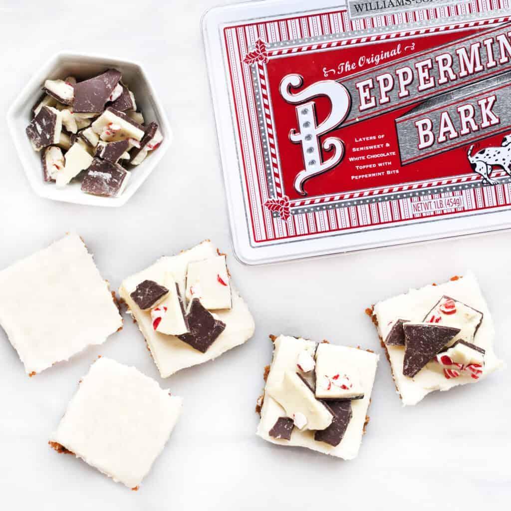 No-Bake Peppermint Bark Gingersnap Bars