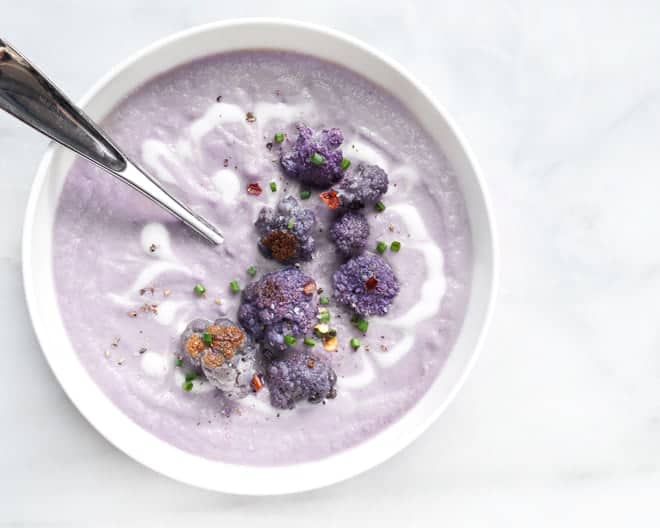 Roasted Spicy Purple Cauliflower Soup