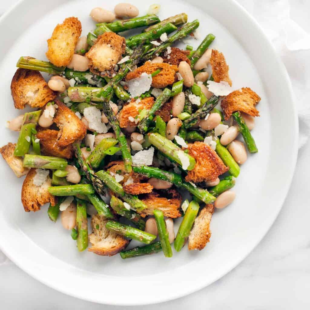 Asparagus Cannellini Bean Sourdough Salad