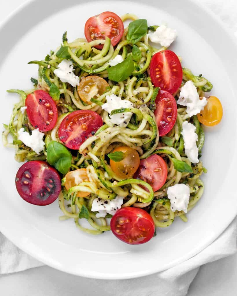 Zucchini Noodles and Cherry Tomatoes