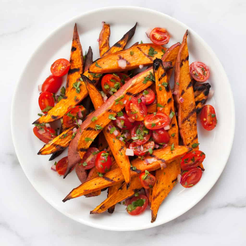 Grilled Sweet Potatoes with Pico de Gallo