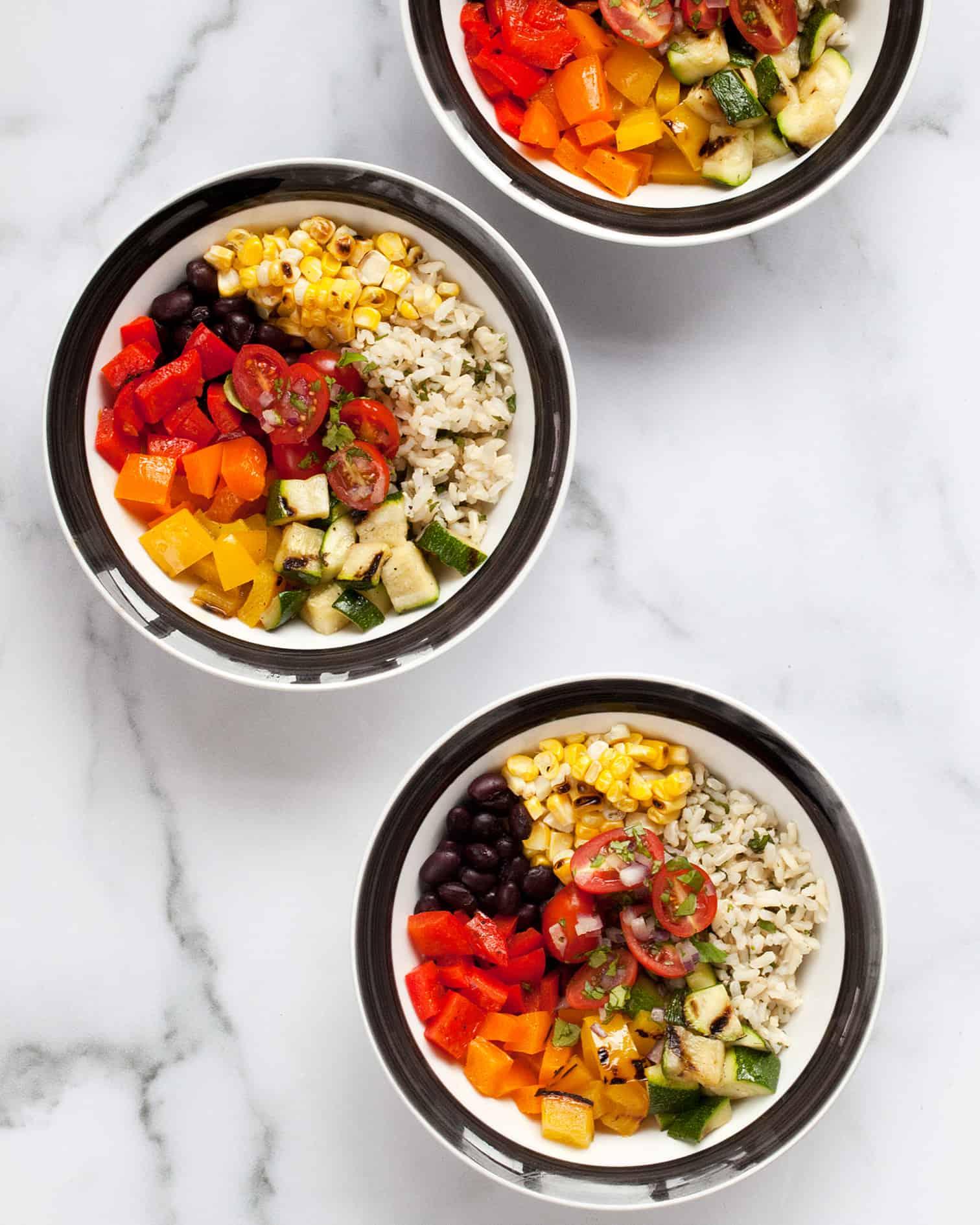 Grilled Veggie Burrito Bowls