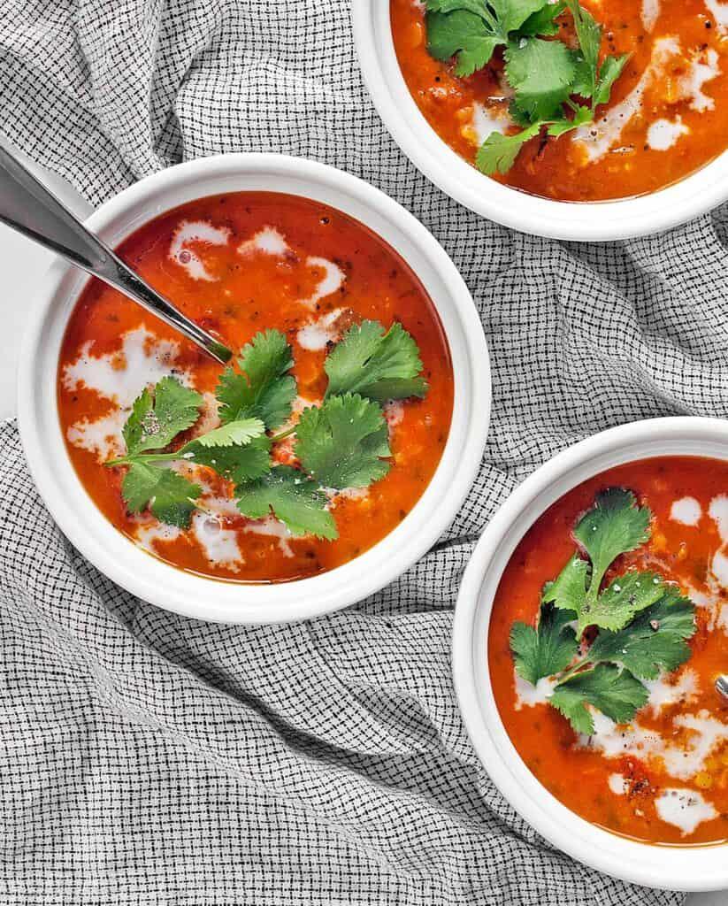 Curried Lentil Tomato Coconut Soup