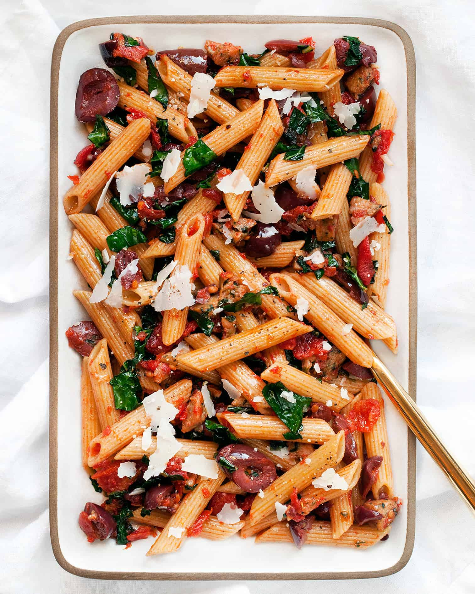 Whole Wheat Penne with Sausage, Kale & Tomatoes