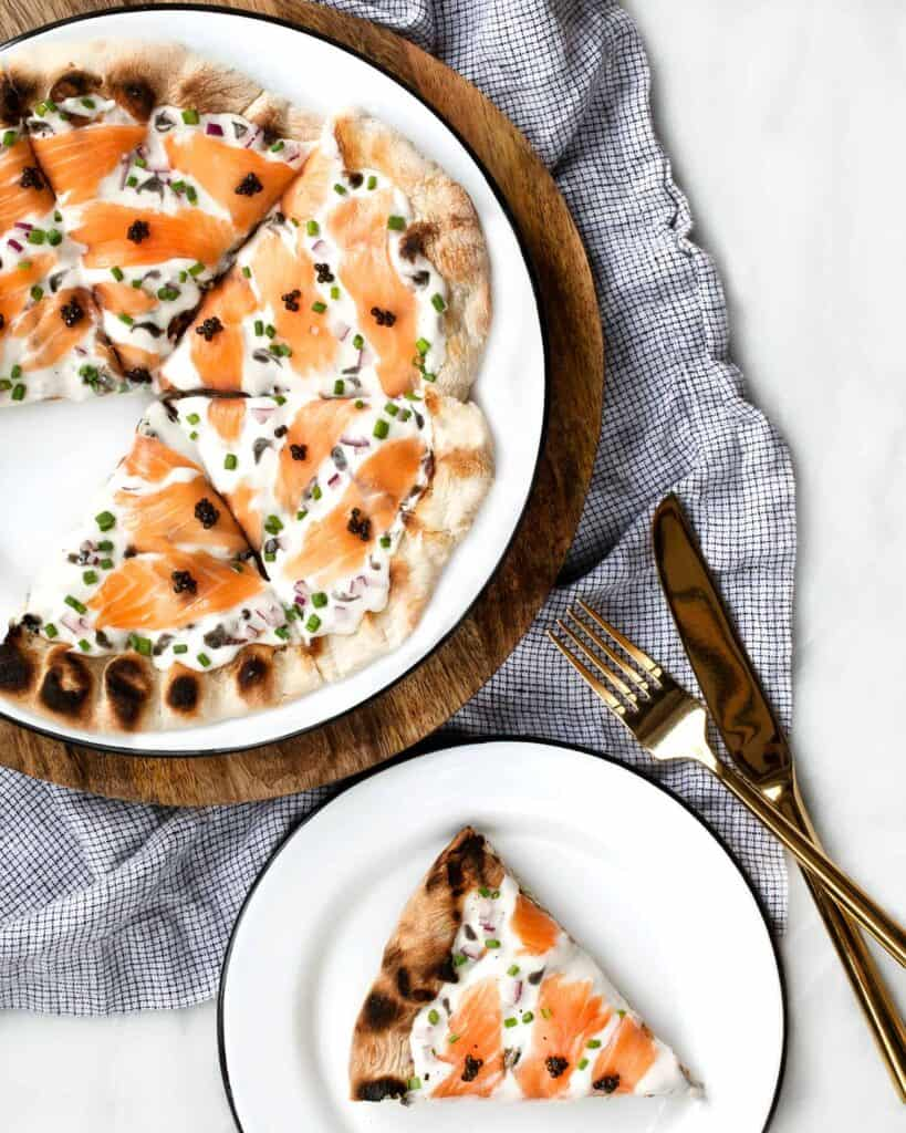 Grilled Pizza with Caviar and Smoked Salmon