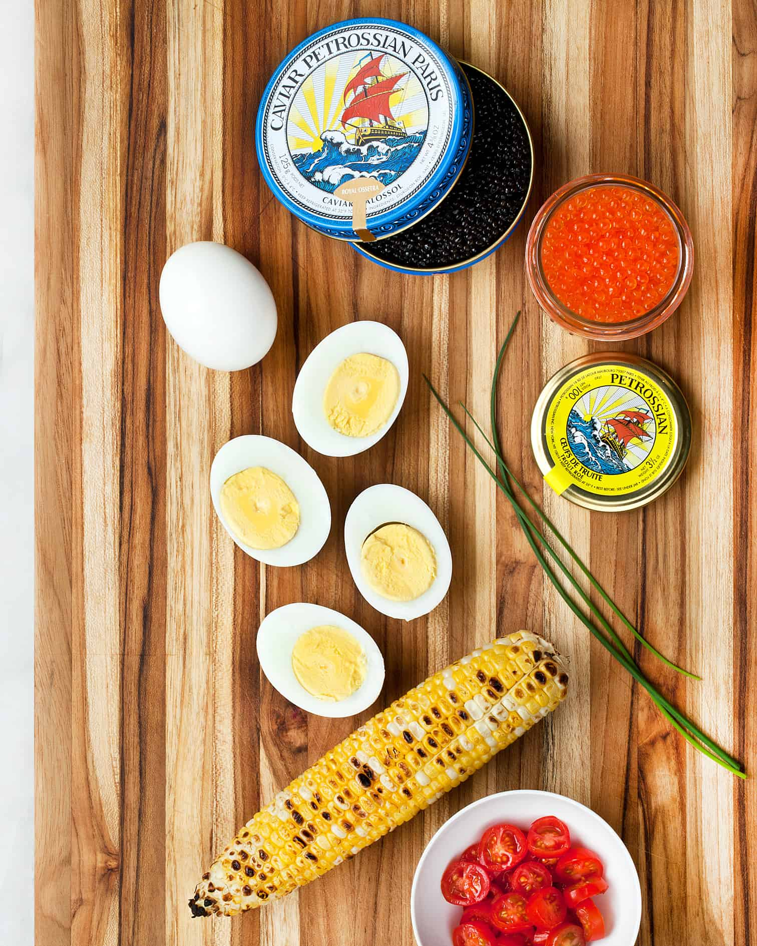 Grilled Corn & Caviar Deviled Eggs