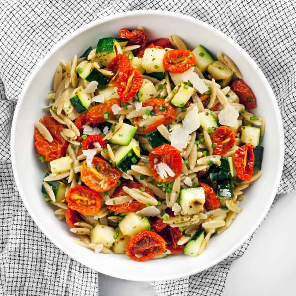 Slow Roasted Tomato Zucchini Orzo