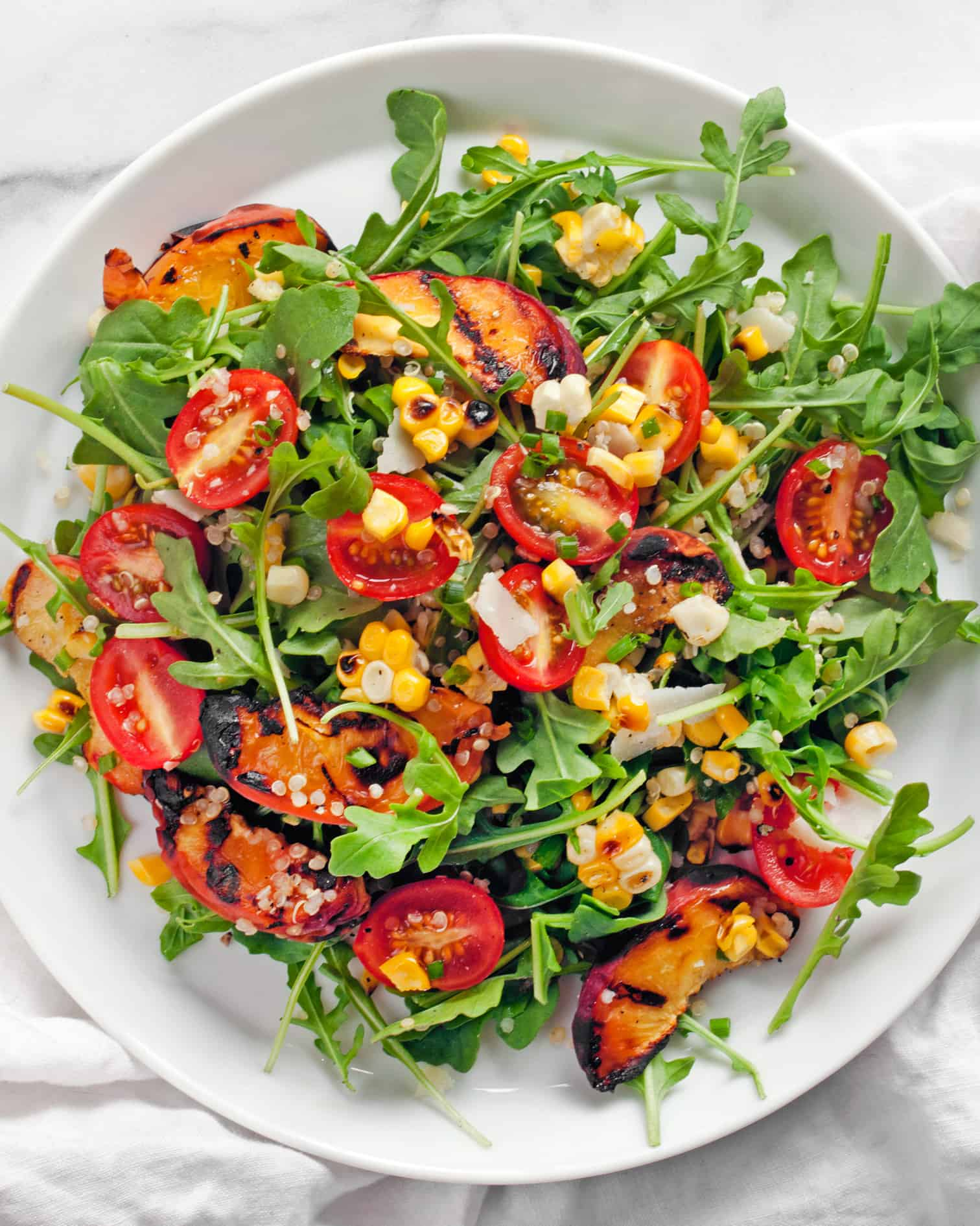 Grilled Peach, Corn and Quinoa Salad