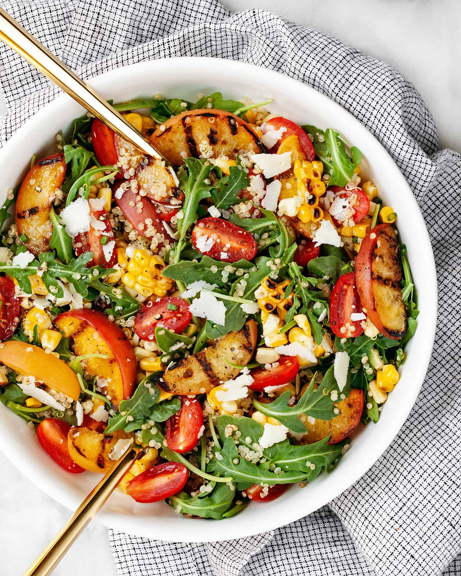 Grilled Peach Corn and Quinoa Salad