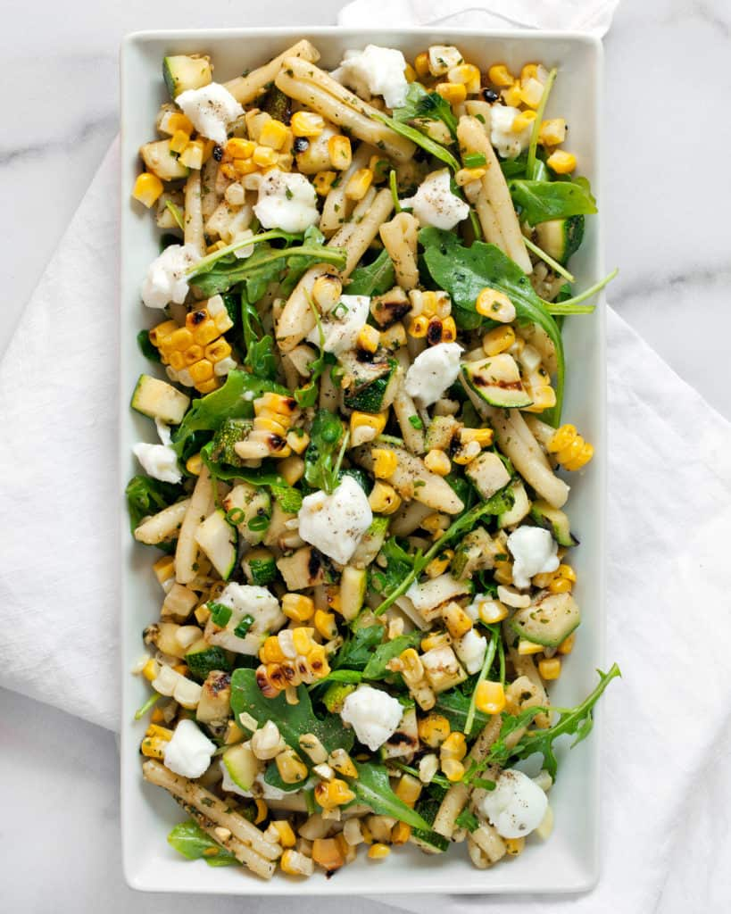 Grilled Corn Zucchini and Mint Pesto Pasta
