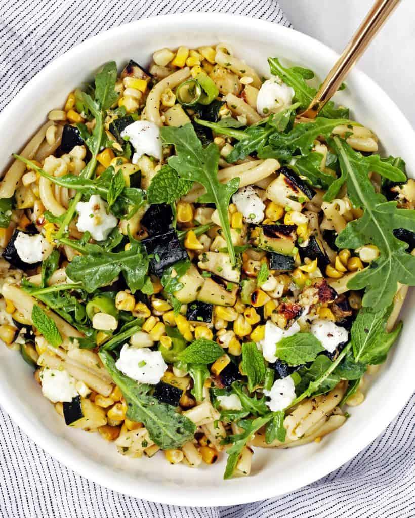 Grilled Corn, Zucchini and Mint Pesto Pasta