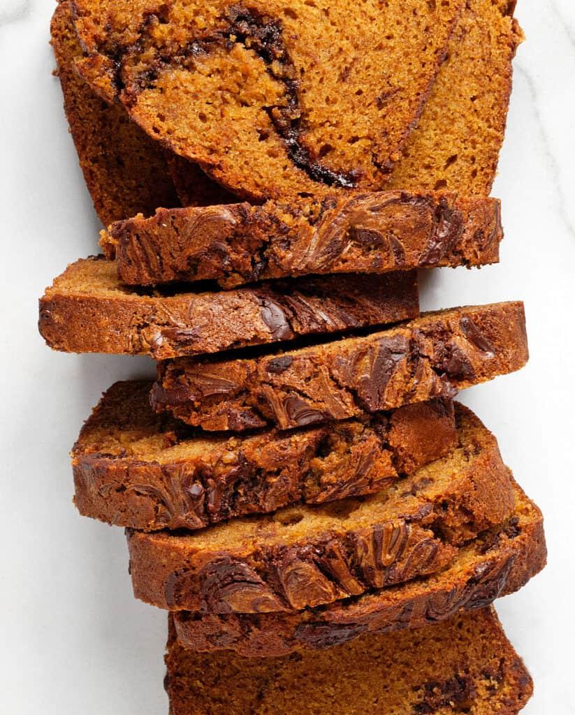 Chili Chocolate Pumpkin Marble Bread