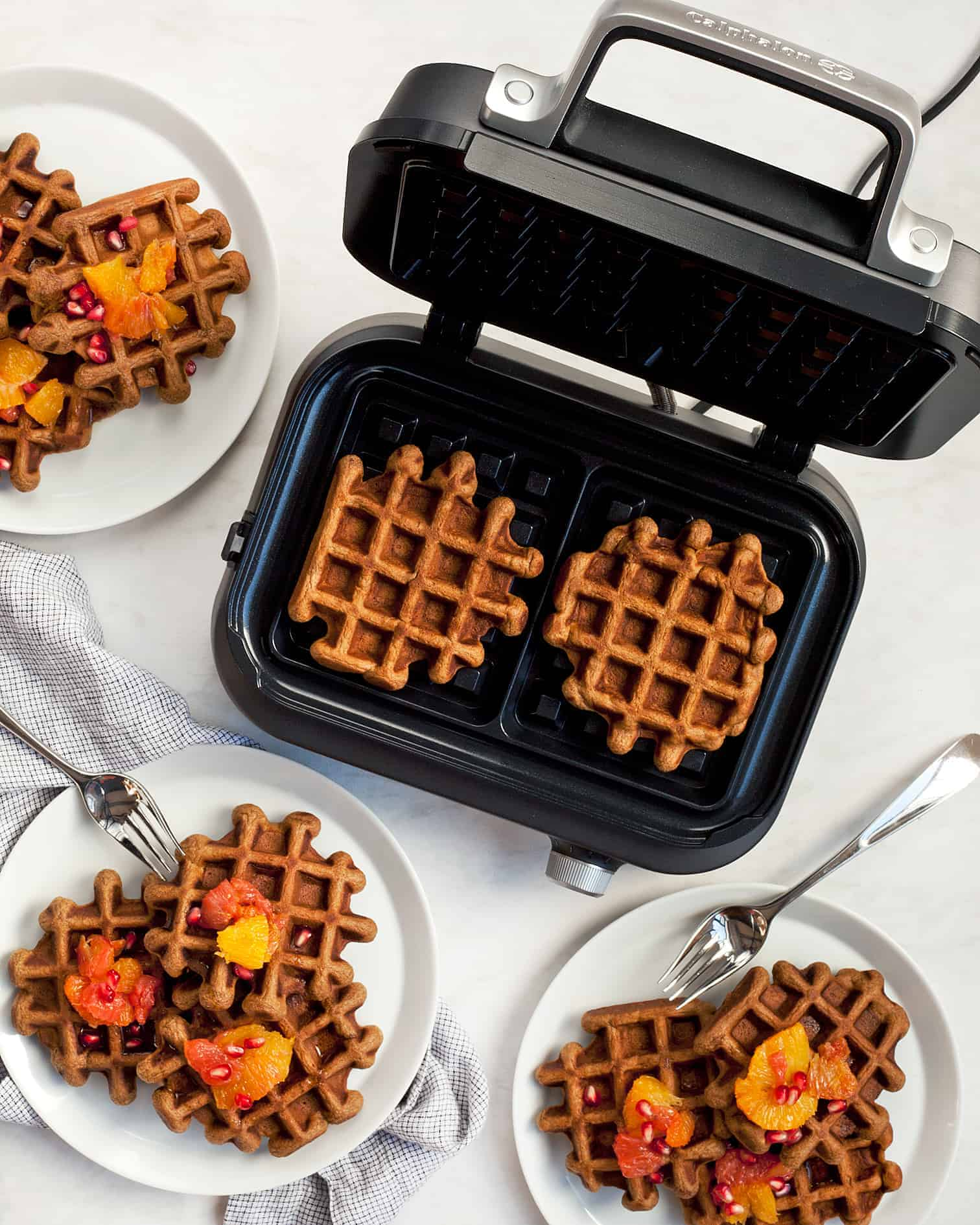 Gingerbread Waffles with Citrus Compote