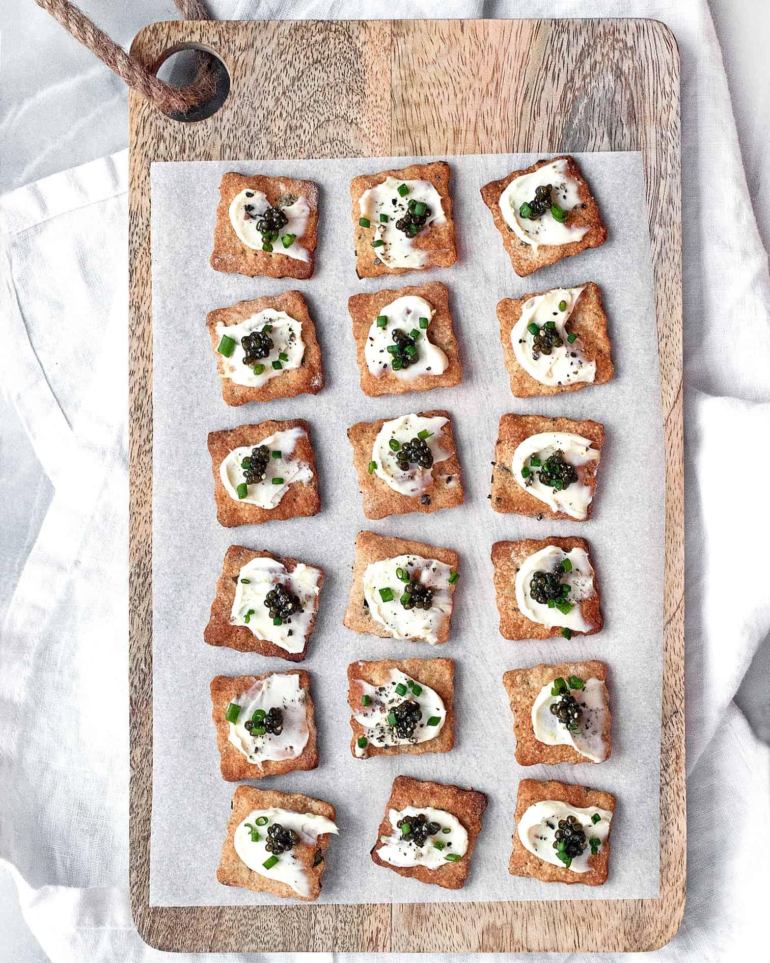 Homemade Herb Crackers with Caviar and Mascarpone