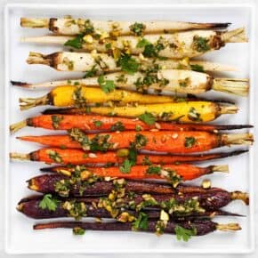 Roasted Rainbow Carrots with Carrot Top Pesto