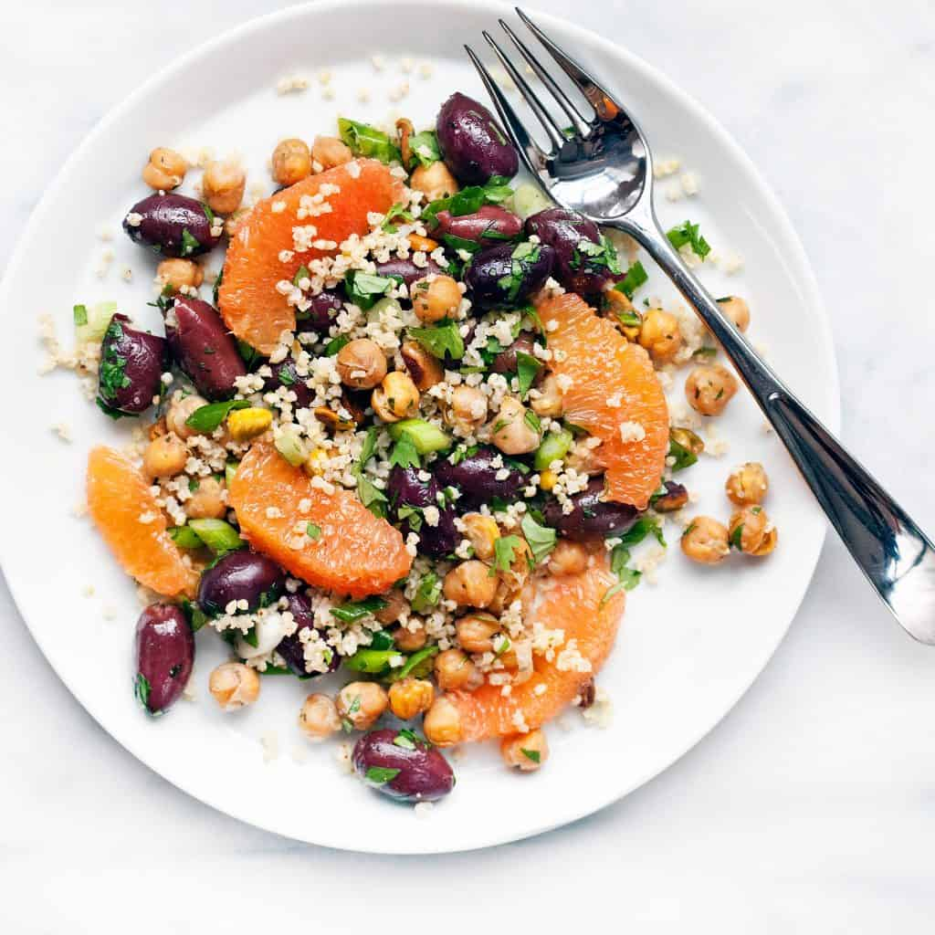 Millet Salad with Grapefruit, Olives and Chickpeas
