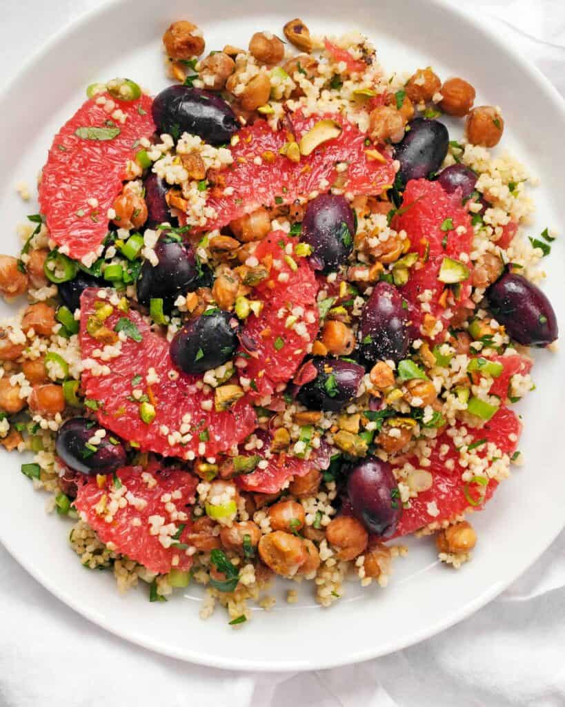 Millet Salad with Grapefruit Olives and Chickpeas