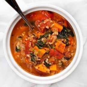 White Bean, Sweet Potato, Tomato and Kale Soup