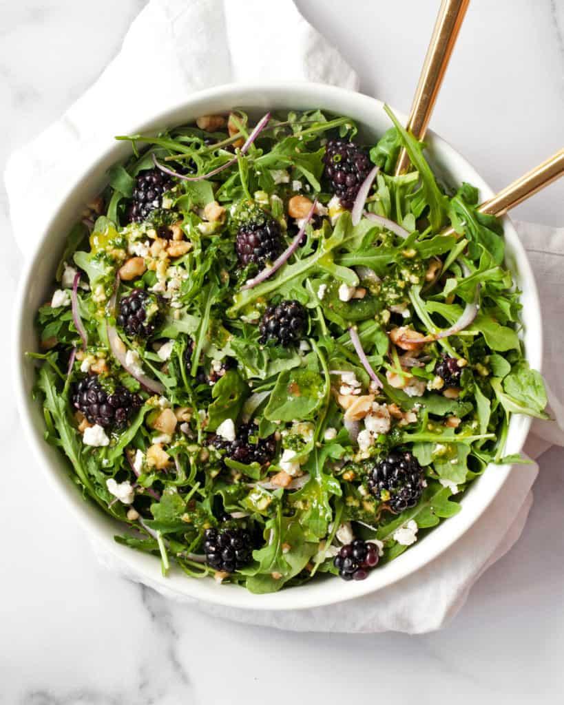 Blackberry Salad with Basil Pesto Vinaigrette