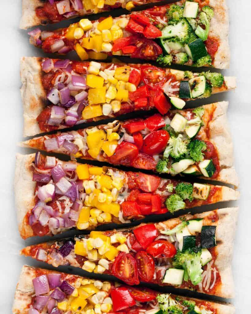 Grilled Rainbow Veggie Pizza