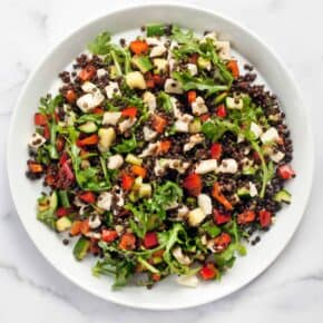 Grilled Halloumi Black Lentil Salad