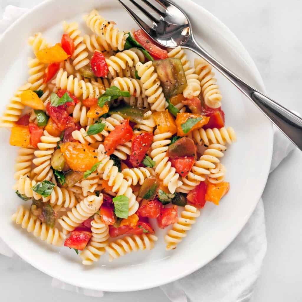 Heirloom Tomato Bruschetta Pasta Salad