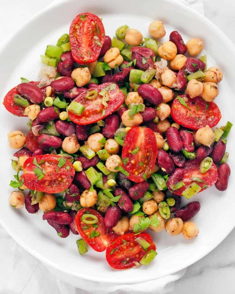 Chickpea Kidney Bean Snap Pea Salad