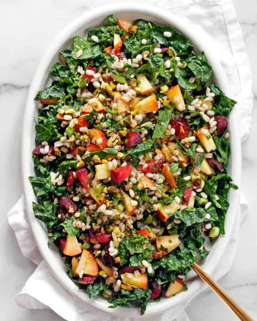 Stone Fruit Kale Barley Salad