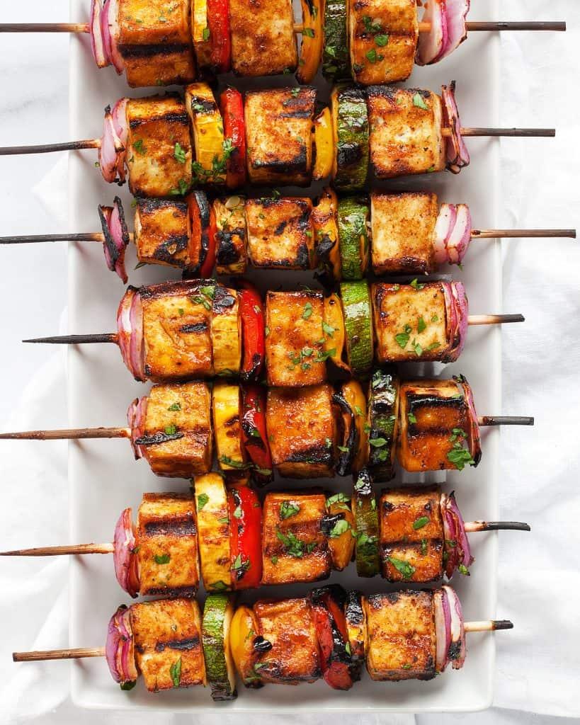 Barbecue Tofu Veggie Skewers