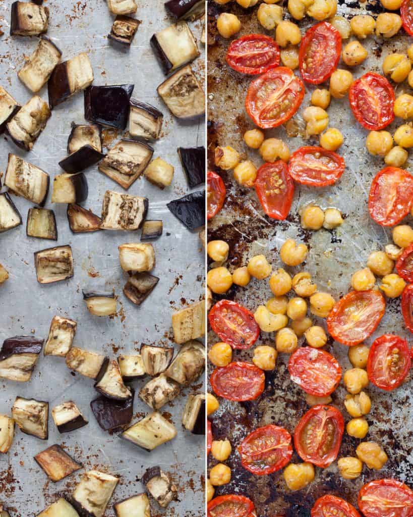 Roasted Eggplant Tomatoes and Chickpeas