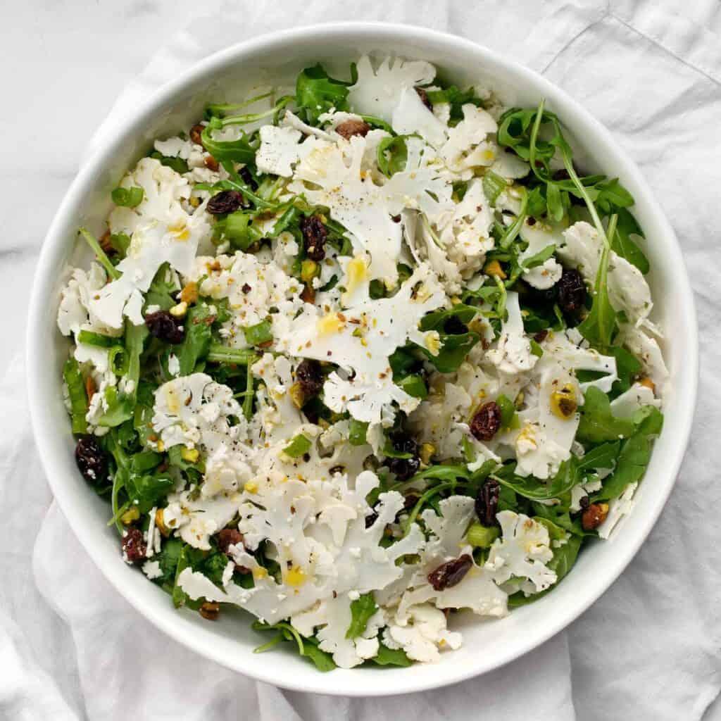 Shaved Cauliflower Arugula Salad
