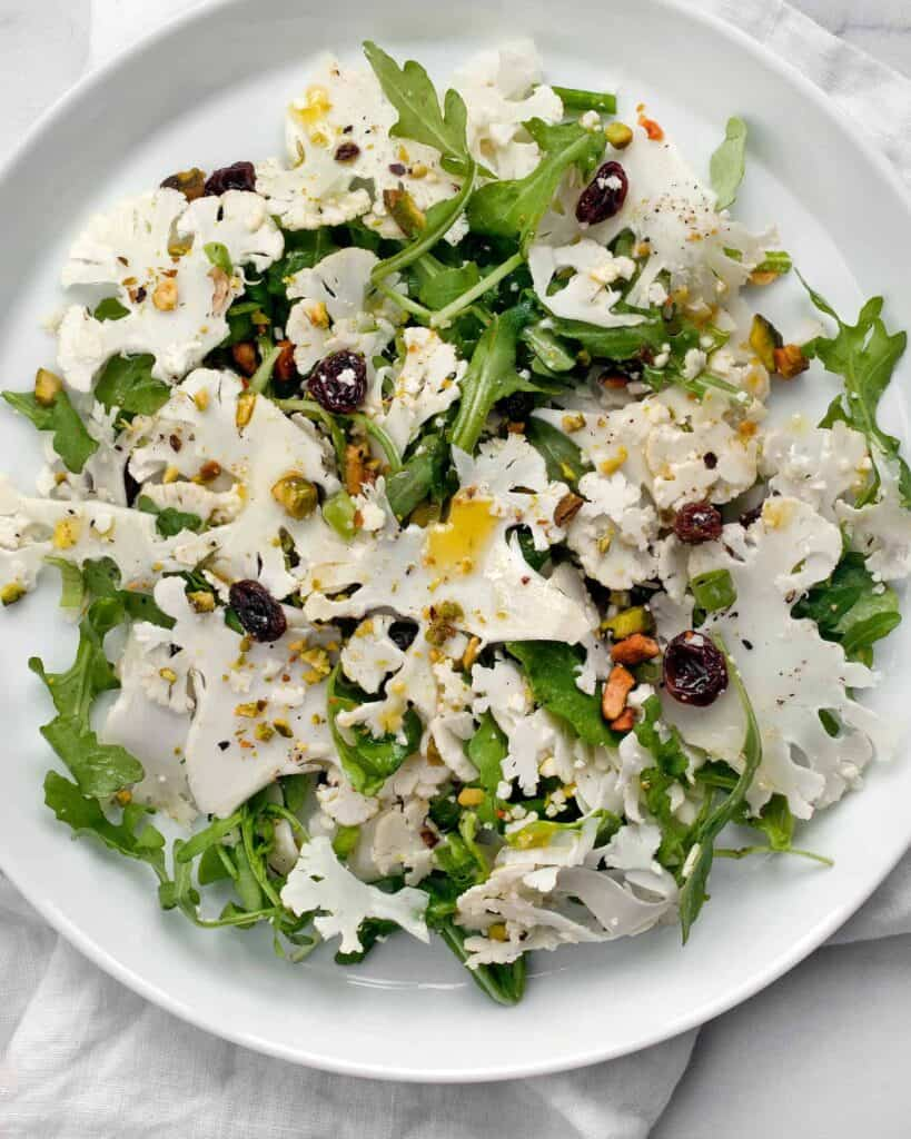 Shaved Cauliflower Arugula Salad