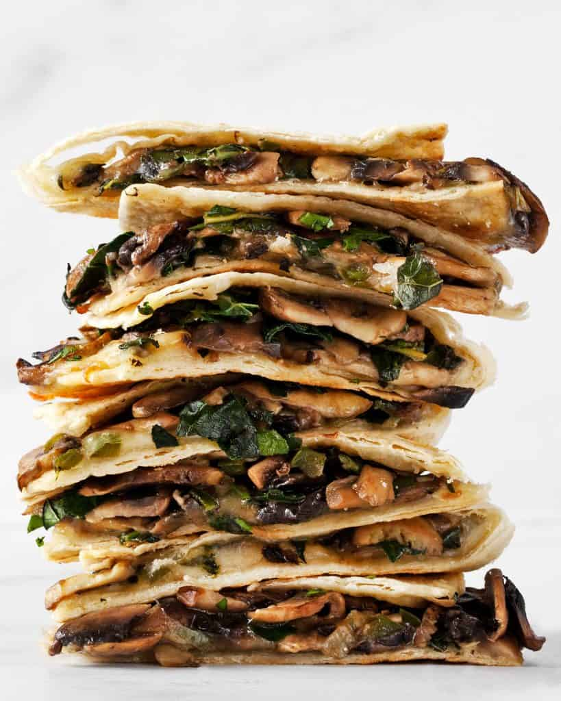 Baked Mushroom Kale Quesadillas