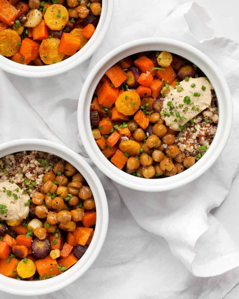 Roasted Vegetable Hummus Bowls