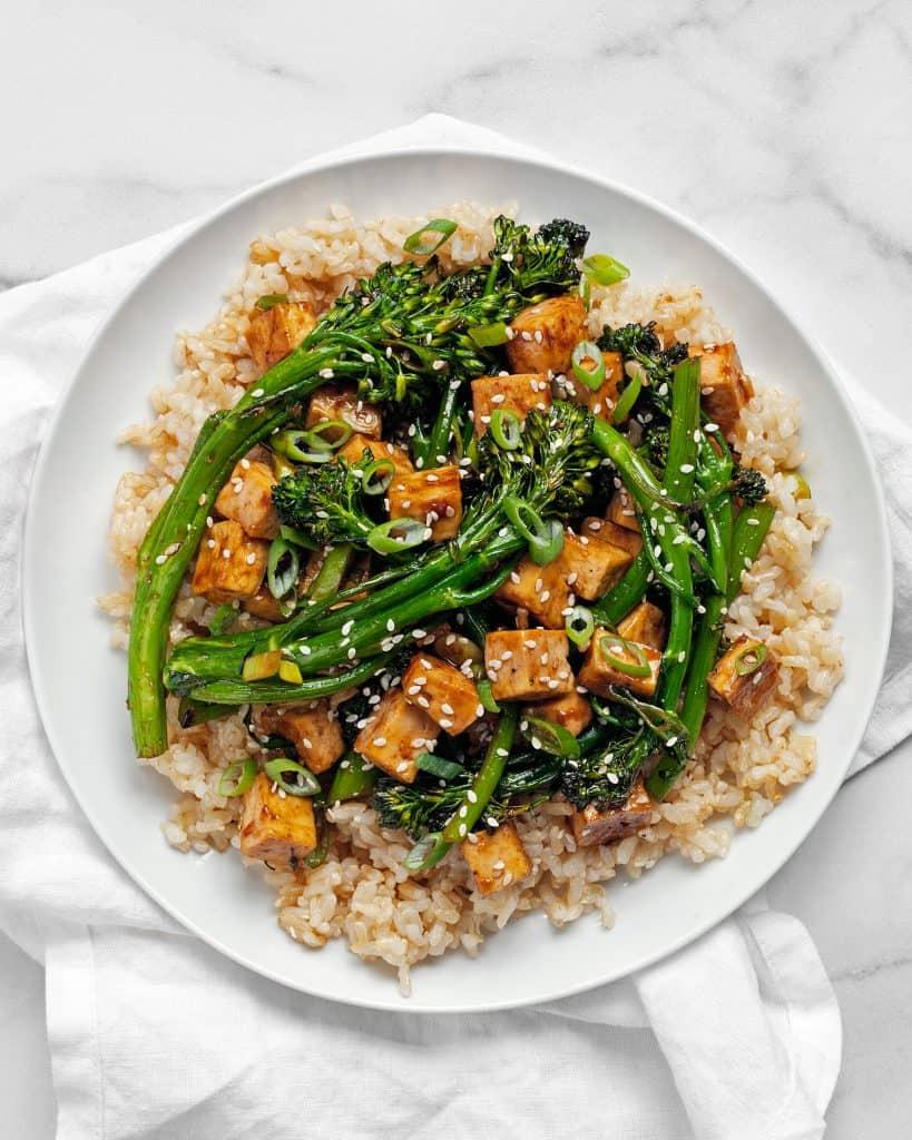 Sheet Pan Teriyaki Tofu Broccolini