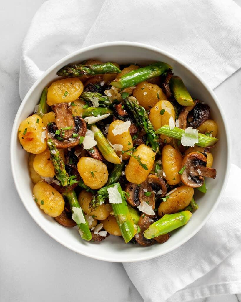 Sheet Pan Mushroom Asparagus Gnocchi