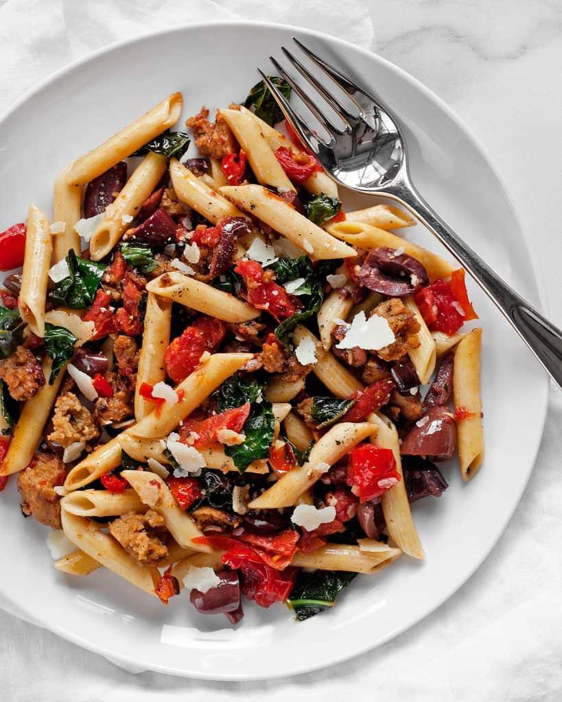 Tomato Olive Kale Sausage Penne